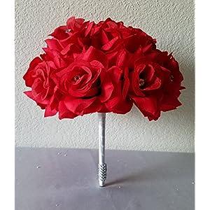 Red Rhinestone Rose Bridal Wedding Bouquet & Boutonniere 82
