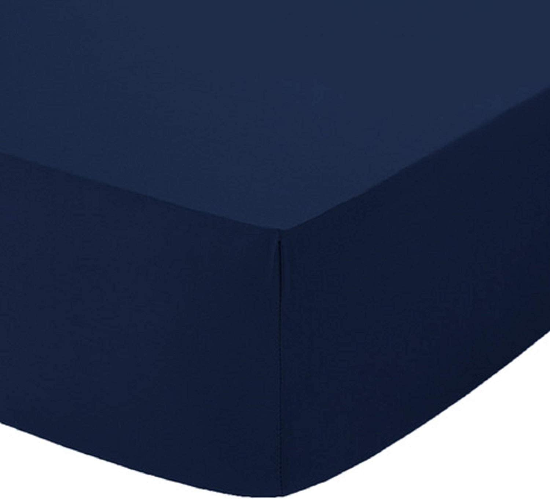 Black, Single 90 x 190 + 25cm Luxury Plain Dyed Non Iron Polycotton Fitted Sheet 25cm