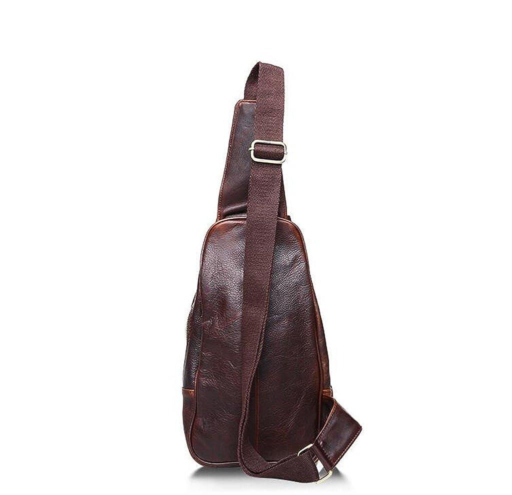 Leather Man Bag Mens Messenger Shoulder Bag Mobile Phone Belt Pouch with Top Handle 19x4x33cm,#1