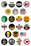 22 Funny Construction Worker Clings | Perfect for Windows, Coffee Mugs, Beer Glasses, Cars, Trucks, Lunch Boxes and Tool Boxes | Non-adhesive, Static Cling Reusable Stickers | LEAVES NO RESIDUE