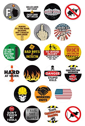 22 Funny Construction Worker Clings | Perfect for Windows, Coffee Mugs, Beer Glasses, Cars, Trucks, Lunch Boxes and Tool Boxes | Non-adhesive, Static Cling Reusable Stickers | LEAVES NO - Stickers Ass Bad
