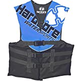 Hardcore Water Sports Youth Life Jacket Vest for 50-90 lbs. | US Coast Guard Approved Type III (Blue)