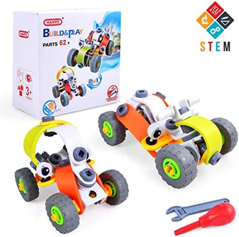Luca Stem Learning Toys 62 Pieces 2-in-1 Educational Engineering Building Set DIY Construction Toys Creative Erector Kit Build and Play for Boys 5 6 7 8 9 10 Year Old