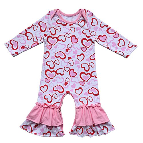 IBTOM CASTLE Newborn Baby Girls Ruffle Romper Jumpsuit Long Sleeve Valentine's Day Love Heart Easter Egg Print Bodysuit Pajama Outfit Pink Heart 3-6 Months -