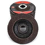 10Pack 4-1/2''x7/8'' Premium High Density Calcined Aluminum Oxide Flap Disc Grit 80 Type 29 Grinding Wheel for Angel Grinder