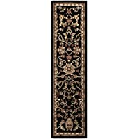 2 x 7.5 Majestic Garden Black and Tan Shed-Free Rectangular Throw Rug Runner