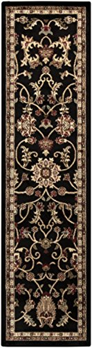 3' x 8' Majestic Garden Black and Tan Shed-Free Rectangular Throw Rug Runner by Diva At Home