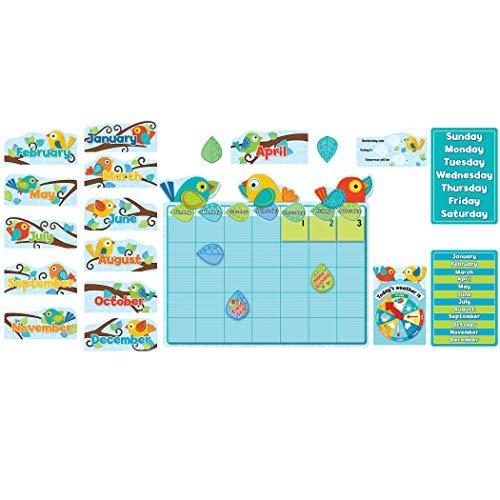 Carson-Dellosa Boho Birds Calendar Bulletin Board Set, for Use with Grades P - 3 (Ages 4-8), Set of 78 (Birds Boho)