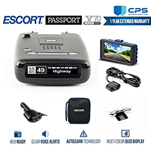 Escort Passport X70 Radar Detector + Smart Direct Wire Cord + CPS Extended Warranty & Minolta 1080p Full HD Dash Cam with Night Vision and Motion Detection - Advanced Bundle