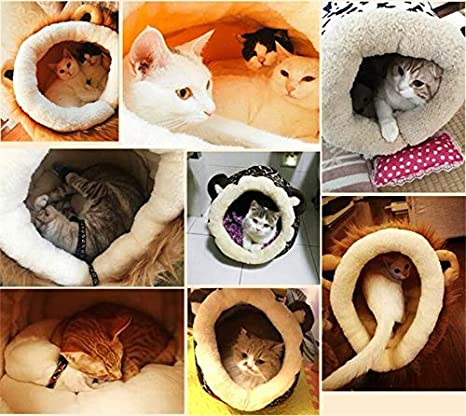 Amazon.com: 1PC Soft velboa Lion Shape Cat Bed Nest Puppy Dogs House Pets Casetas Para Perros: Clothing