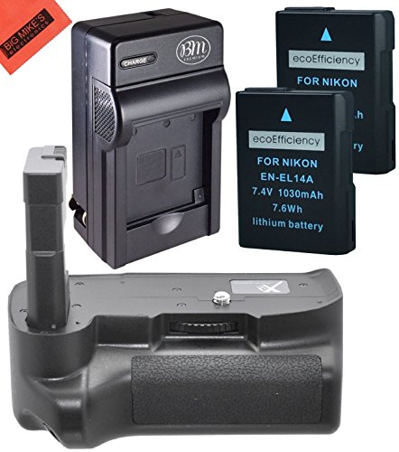 Battery Grip Kit for Nikon D3400 Digital SLR Camera – Includes Replacement BG-N12 Battery Grip + Qty 2 ecoEfficiency EN-EL14a Batteries+ Rapid AC/DC Battery Charger