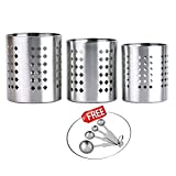 Kosma 3 Pc Set Cutlery Holder | Stainless Steel Flatware Caddy/Cutlery Organizer | Utensil Holder with Free 4 pc Measuring Spoons - Size:10x12cm,11x13cm,14x12cm (Leaf)