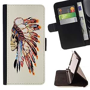 Super Marley Shop - Funda de piel cubierta de la carpeta Foilo con cierre magnšŠtico FOR Samsung Galaxy S4 IV I9500 i9508 i959- American Indian Red Indian Feather Skull