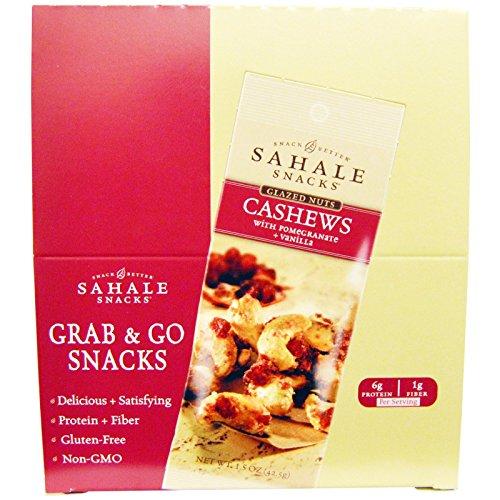 Sahale Snacks Glazed Nuts Cashews with Pomegranate Vanilla 9 Packs 1 5 oz 42 5 g Each (Sahale Cashews)