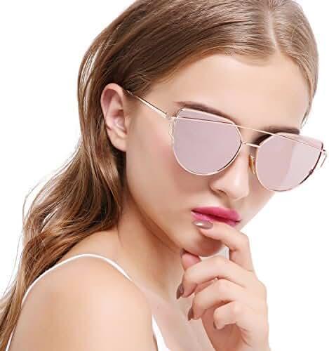 Joopin Women Metal Polarized Cat Eye Sunglasses Flat Lens Coating Sunglasses
