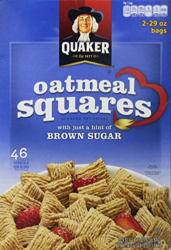 - Quaker Oatmeal Squares Crunchy Oatmeal Cereal, 58 Ounce