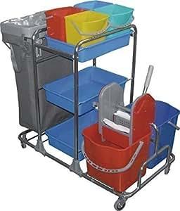 Cleany carro completo limpiador, cubo fregona, carro con 4 ruedas de maniobra, 4 pequeños cubos, 2 x 20 litros y cubos Deluxia escurridora y 3 recipientes de almacenamiento y soporte de bolsa de basura incluido saco de la limpieza bolsa de plástico