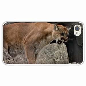 diy zhengiphone 5/5s Black Hardshell Case uma cougar mountain wild teeth rage White Desin Images Protector Back Cover