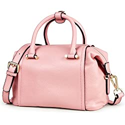 Qiwang Women's Genuine Leather Casual Style Tote Top Handle Shoulder Cross Body Bag Satchel Purse Handbags with Lichi Grain (Pink)