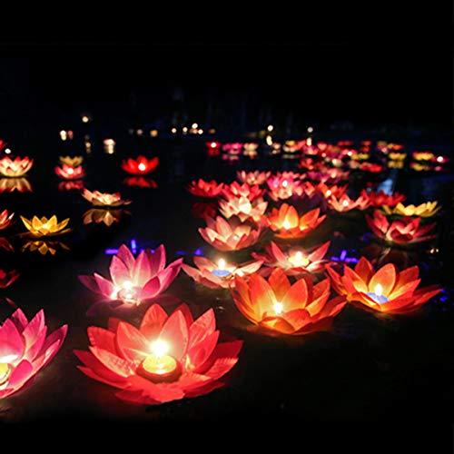 LEDMOMO Floating Lotus Lights Wishing Water Lily Candles Light Decorative Floating Candles Lantern for Pool Festival Night (Random Color,15Pcs)