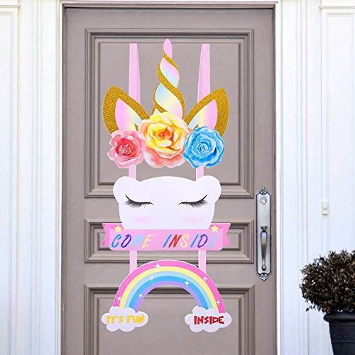 Unicorn Birthday Party Supplies- Happy Birthday Door Sign Magical Rainbow Girl Birthday Party Decoration