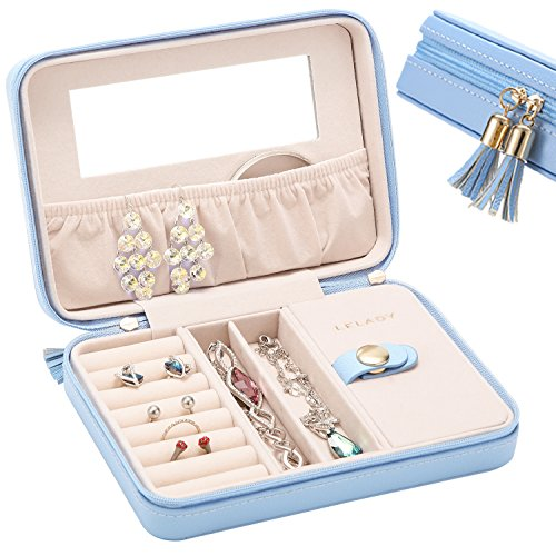 JL LELADY JEWELRY Small Jewelry Box Organizer, Travel Jewelry Case Portable Faux Leather Jewelry Storage Holder with Mirror for Earrings Rings Necklaces, Gift for Women Girls (Sky Blue) by JL LELADY JEWELRY