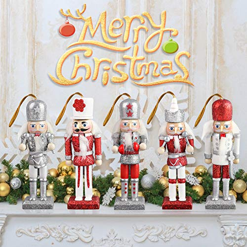 Amor Christmas Nutcracker Ornaments Set, 5PCS Wooden Nutcracker Figurines Hanging Decorations for Christmas Tree Figures Puppet Toy Gifts