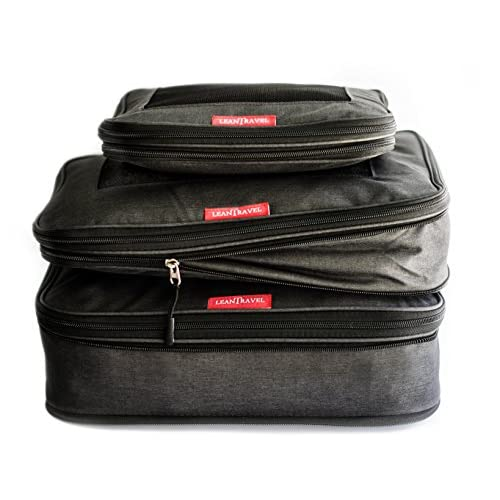 LeanTravel Compression Packing Cubes For Travel With Double Zipper Set Of 3