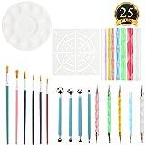 SUBANG 25 Pieces Rock Painting Pen Dot Dotting Tools for Mandala Rock Painting, Coloring, Drawing & Drafting, Kids' Crafts, Nail Art, Painting