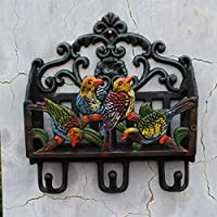Xq European Style Country Cast Iron Wrought Iron Coloured Drawing Parrot Modeling Coat Hook Magazine Storage Rack