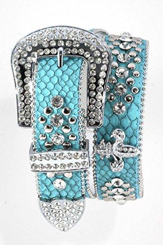 Trendy Fashion Jewelry Fleur De Lis Leather Belt By Fashion Destination   (Teal) (Necklace Trifari Rhinestone)