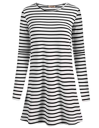 ACEVOG O-Neck Long Sleeve Striped Casual Long Tunic Top Basic Women shirts, Large, Black&white