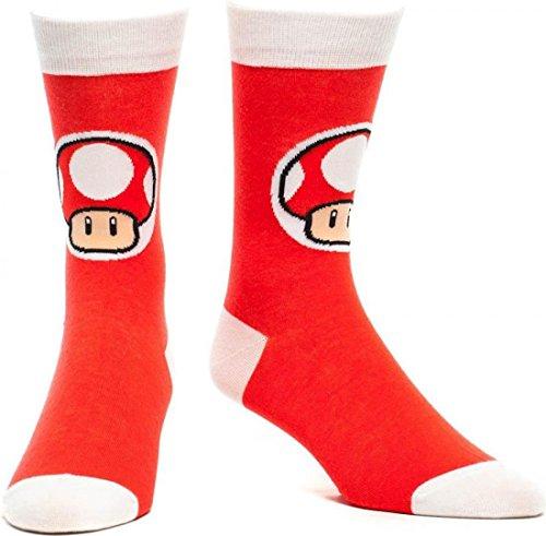 Nintendo Super Mario Bros. Male Red Mushroom Crew Socks | 43/46 | Red/White (Super Mario Bros Mushroom)