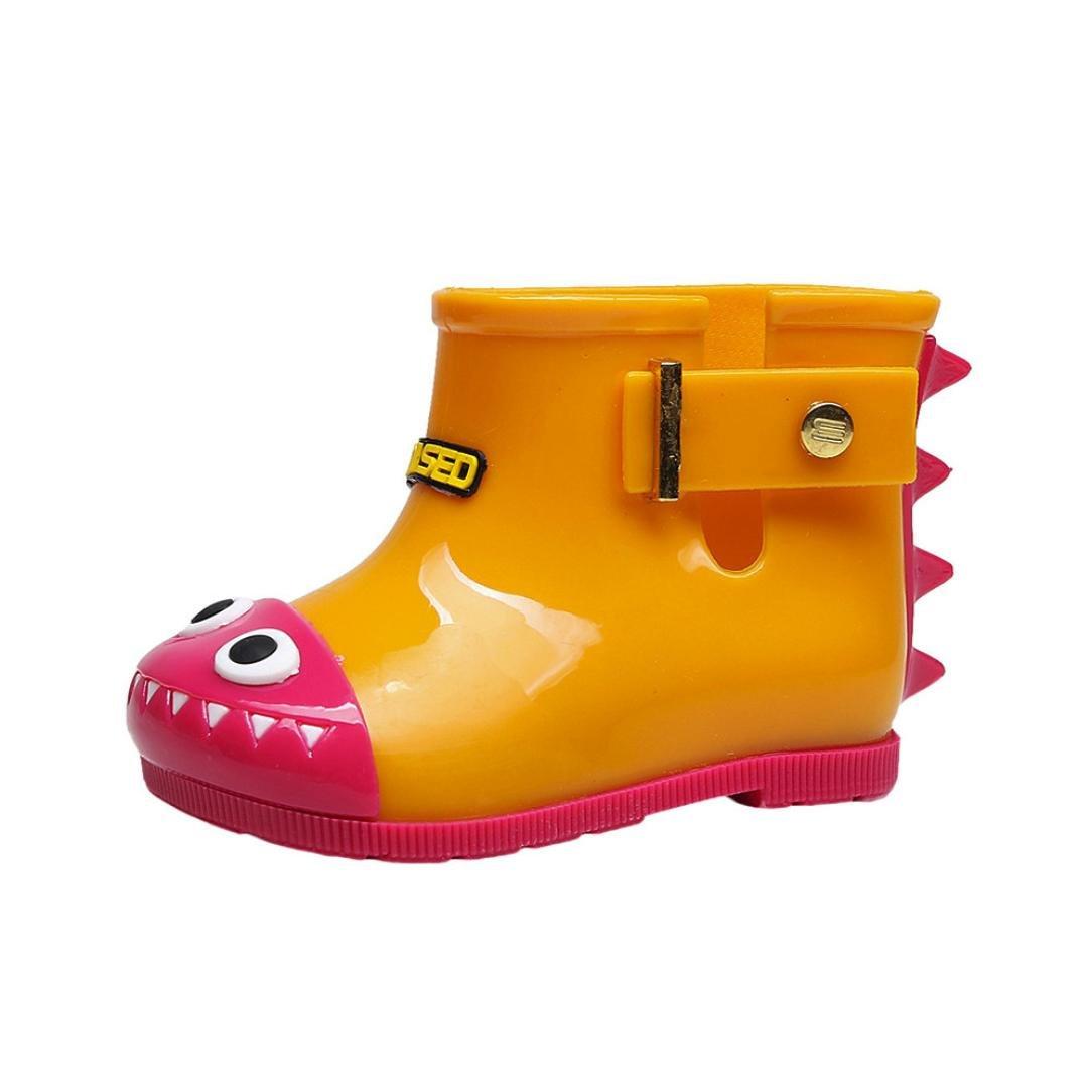 Jinjiu Kids Children Waterproof Rubber Shark Rain Boots Girls Boys Anti-slip Rain Shoes (5.5-6.5T, Yellow)