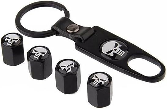Auto Cool Wheel Tyre Tire Stem Air Valve Cap Dust Cover Key Chain Skull Punisher
