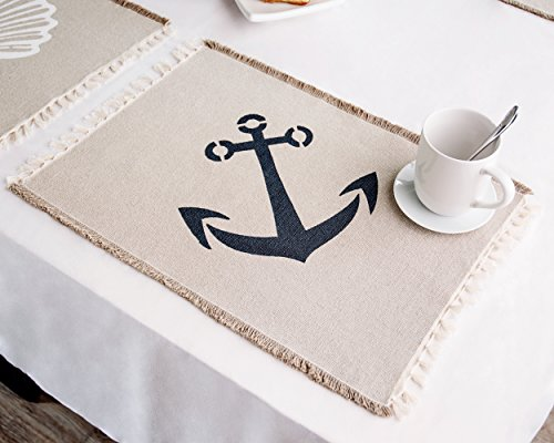 Living Fashions Table Placemats Set By 4 Beach Themed Nautical Kitchen Place Mats For The Dining Table Made With 100% Washable Cotton - Seashell, Sand Dollar, Starfish & Anchor Designs With Fringes by Living Fashions (Image #3)