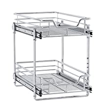 Household Essentials C21221-1 Glidez 2-Tier Sliding Organizer, Dual Pull Out Cabinet Shelf, Chrome, 11.5""