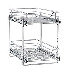 Kitchen Household Essentials C21221-1 Glidez 2-Tier Sliding Cabinet Organizer, 11.5″ Wide, Chrome pull-out organizers