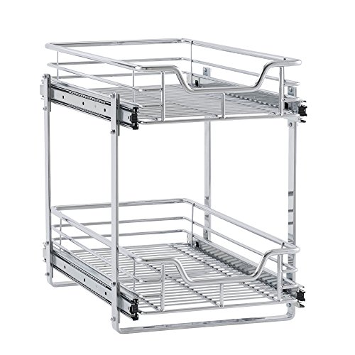 (Household Essentials C21221-1 Glidez 2-Tier Sliding Cabinet Organizer, 11.5