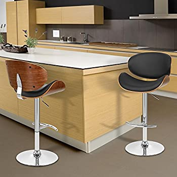 Bon Armen Living LCNABABLKWA Naples Swivel Barstool In Black Faux Leather,  Walnut Wood And Chrome Finish