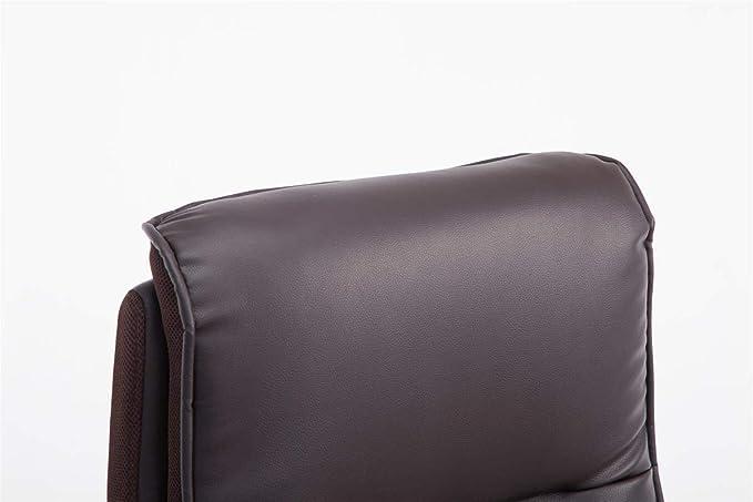 CLP Silla De Oficina Villach Tapizada En Simil Cuero & Base con Ruedas | Silla De Escritorio Acolchado con Reposabrazos Abatibles, Color:marrón