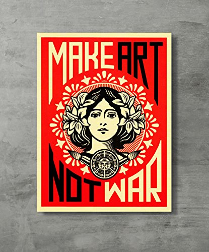 (Make Art Not War -War Peace Poster Shepard Fairey Decorative Print Wall Poster Custom Poster 18x24 inch)