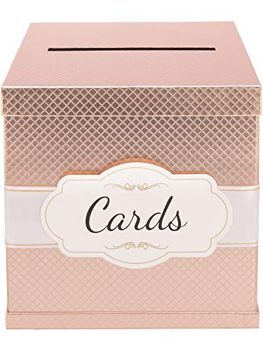 - Rose Gold Gift Card Box - Gold-Foil Satin Ribbon & Cards Label - 10