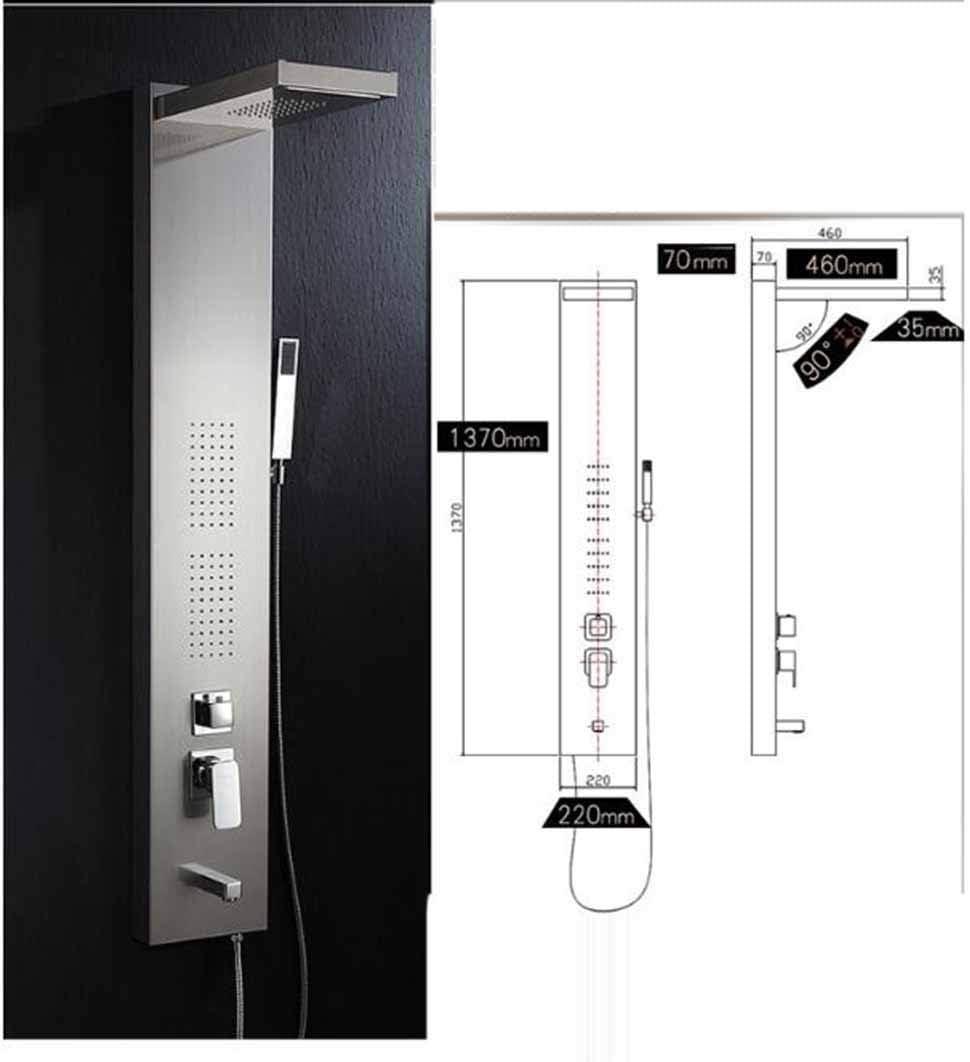 Juego de paneles de ducha, sistema de ducha de agua caliente y fría, ducha de ducha de mampara de ducha cuadrada de acero inoxidable, decoración de baño de lujo portátil yd&h: Amazon.es: