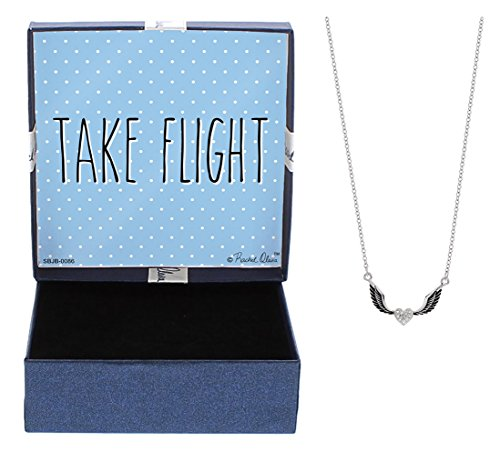 Graduation Gifts Take Flight Necklace Silver-Tone Crystal Adorned Winged Heart Pendant Necklace Jewelry Box Idea Gift Mom Mother's Love Necklace