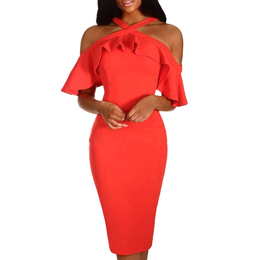 PASATO Women Ruffles Cross Off Shoulder Dress Evening Party Dress Sundress Warm Party Night Out Pencil Midi Dress(Red,M=US:S)