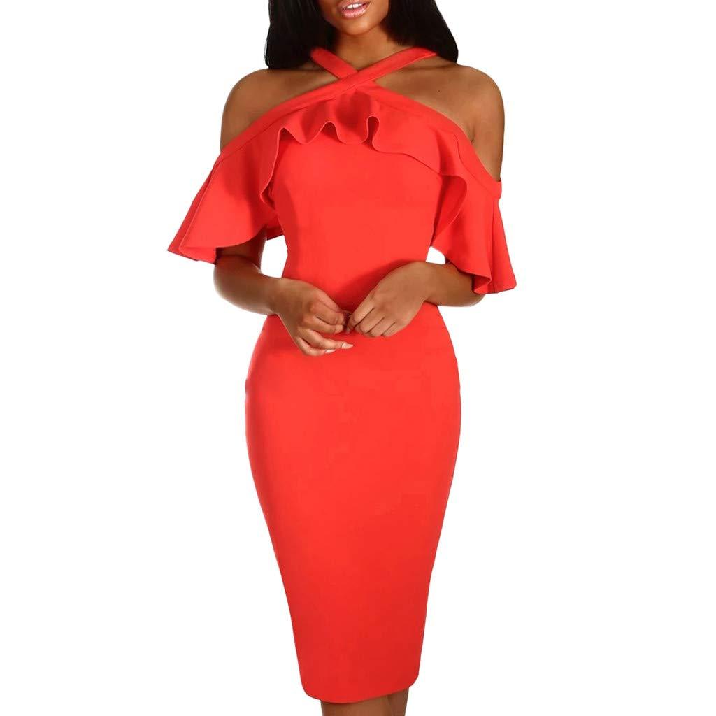 PASATO Women Ruffles Cross Off Shoulder Dress Evening Party Dress Sundress Warm Party Night Out Pencil Midi Dress(Red,XL=US:L)