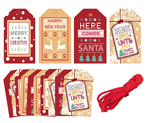 40pcs Merry Christmas Gift Tags – Xmas Party Decoration Craft Hang Paper Tags for New Year's Birthday Winter Holiday Greeting Gift Wrap Table Decor, Cookie Candy Tags, 16ft Red Twines