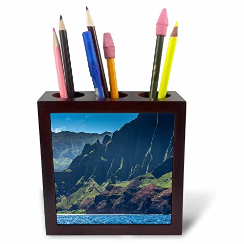 3dRose Danita Delimont - Mountains - Hawaii, Kauai, Napali Coast State Park, Pacific Ocean - 5 inch tile pen holder (ph_278940_1) by 3dRose