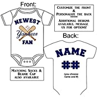 Personalized Custom Made Newest Yankees Fan Gerber Onesie Baseball Jersey - Baby Announcement Reveal or Shower Gift